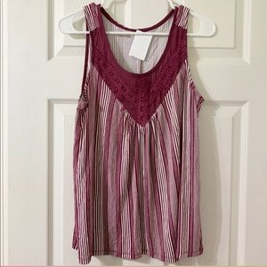 Maurices Burgandy & White Stripe Tunic Top